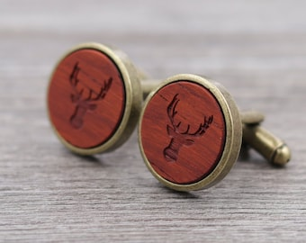 Padauk Personalized Wooden Cuff links - Antique Bronze Cufflinks - Custom Engraving - Groomsmen gift - 5th Wedding Anniversary Present