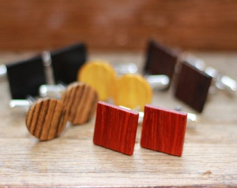 5 Wooden Cufflink Sets - Groomsmen gift - 5th wedding anniversary present - Gift for Him