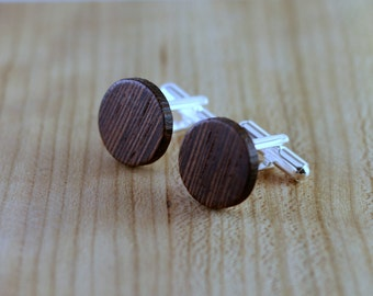 Wooden Cufflinks - Wenge - Groomsmen gift - 5th wedding anniversary - Round Cuff Link - Gift for Him - Mens Jewelry - Personalize