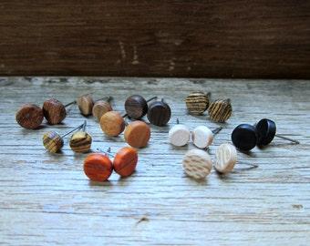 10 pairs of wood earrings - Wood earrings - Womens earrings - Unisex earrings - Mens earrings - Wood stud earrings - Tiny earrings