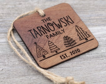 Christmas Trees, Family Ornament, Personalized Wood Christmas Ornament, Custom Ornament, Christmas Gift, Holiday Gift, Personalized Gift