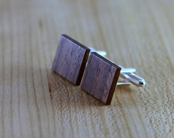 Wood Cuff links - Walnut - Groomsmen gift - 5th wedding anniversary - Square Cuff Link - Gift for Him - Mens Jewelry - Personalize