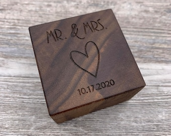 Mr. & Mrs., Personalized Ring Box, Custom Wood Ring Box, Ring Bearer Box, Engagement, Proposal Ring Box, Anniversary Gift, Wedding, Keepsake