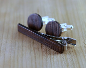 Wooden Cufflinks and Tie Bar set - Wenge - Groomsmen gift - 5th wedding anniversary present - Round Cuff Link - Gift for Him