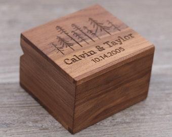 Trees, Personalized Ring Box, Custom Wood Ring Box, Ring Bearer Box, Engagement, Proposal Ring Box, Anniversary Gift, 5 Year