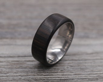 Macassar Ebony Ring,Wood Ring,Titanium Ring,Personalized Ring,Wooden Ring,Wedding Ring,Unique Ring,Mens Jewelry