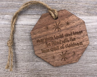 Spirit of Christmas, Personalized Wood Christmas Ornament, Custom Ornament, Christmas Gift, Holiday Gift, Wood Ornament, Personalized Gift