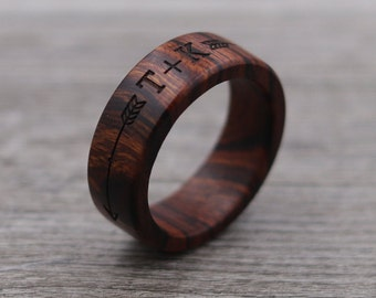 Desert Ironwood Ring - Arrows - Engraved Ring - Custom Ring - Personalized - Wedding Ring - Wooden Ring - Mens Jewelry - 5 Year Anniversary