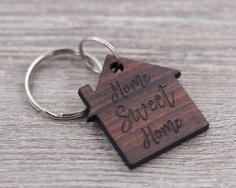 Home Sweet Home, House Shaped Keychain, New Home Gift, Realtor Gift, Housewarming Present, Wood Keychain, Custom Wood Keychain