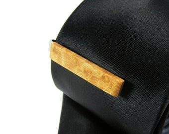 Wood Tie Clip - Figured Maple - Groomsmen gift - 5th wedding anniversary present