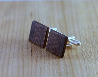 Wooden Cufflinks - Wenge - Groomsmen gift - 5th wedding anniversary - Square Cuff Link - Gift for Him - Mens Jewelry - Personalize