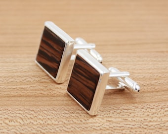 Wenge Square Wood Cuff links - Silver Cuff links - Groomsmen gift - 5th Wedding Anniversary Present