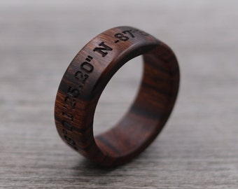 Coordinates Engraving - Engraved Ring - Custom Ring - Personalized Ring - Wedding Ring - Wooden Ring - Mens Jewelry - 5 Year Anniversary