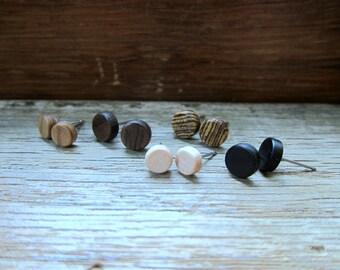 5 pairs of wood earrings - Wood earrings - Unisex earrings - Mens earrings - Wood stud earrings - Tiny earrings