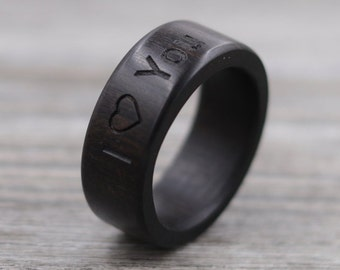 Ebony Wood Ring - Engraved Ring - Unique Wedding Ring - Natural Jewelry - Wedding Ring - Wooden Ring - Mens Jewelry - 5 Year Anniversary