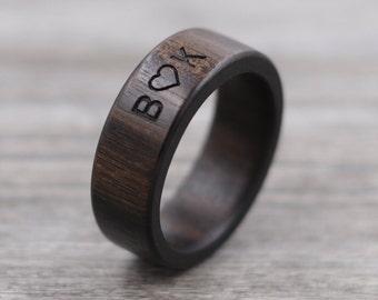 Macassar Ebony Wood Ring - Engraved Wood Ring - Unique Wedding Ring - Wedding Ring - Wooden Ring - Mens Jewelry - 5 Year Anniversary