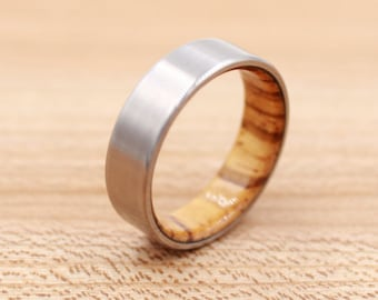 Titanium Ring Lined with Zebrawood - Wedding Band - Unique Wedding Ring
