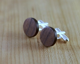 Wood Cuff links - Walnut - Groomsmen gift - 5th wedding anniversary - Round Cuff Link - Gift for Him - Mens Jewelry - Personalize