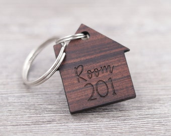 Personalized House Shaped Keychain - New Home Gift - Realtor Gift - Housewarming Present - Wood Keychain - Custom Wood Keychain - Key Chain