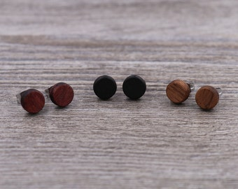 3 pairs of wood earrings - Wood earrings - Unisex earrings - Mens earrings - Wood stud earrings - 7 mm studs - 8 mm studs - 9 mm studs