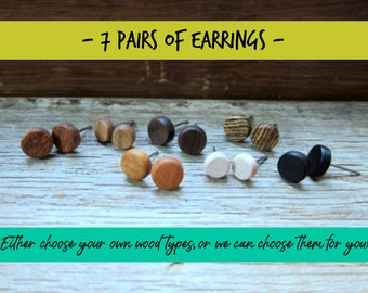 7 pairs of wood earrings, Wood earrings, Wood stud earrings, Womens earrings, Mens earrings, Unisex Earrings, Custom Earrings, Tiny Earrings