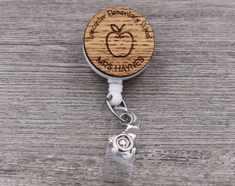 Teacher Badge Reel, Apple Badge, Retractable Badge Reel, School Badge, Teacher ID, Custom Badge, Personalized Badge, Teacher Gift