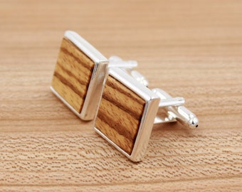 Zebrawood Square Wooden Cufflinks - Silver Cufflinks - Groomsmen gift - 5th Wedding Anniversary Present
