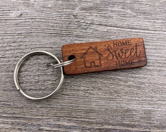 Wood Keychain - Home Sweet Home Keychain - Custom Wood Keychain - Key Chain - New Home - Realtor Gift - Housewarming Present - Anniversary