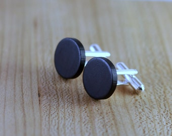 Wooden Cufflinks - Blackwood - Groomsmen gift - 5th wedding anniversary - Round Cuff Link - Gift for Him - Mens Jewelry - Personalize