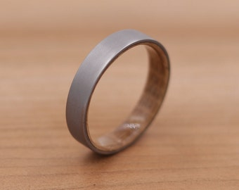 Titanium Ring Lined with Wood from a Whiskey Barrel - Sand Blasted Finish - Wedding Band - Unique Wedding Ring