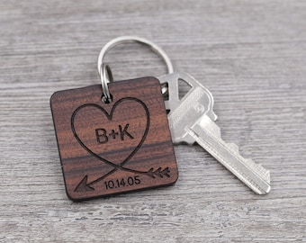 Heart with Initials Keychain, Important Date, Special Date, Personalized Keychain, Custom Wood Key Chain, Gift for Him, Gift for Her