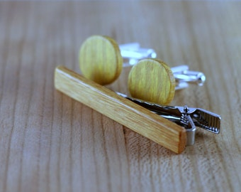 Wooden Cufflinks and Tie Bar set - Osage Orange - Groomsmen gift - 5th wedding anniversary present - Round Cuff Link - Gift for Him