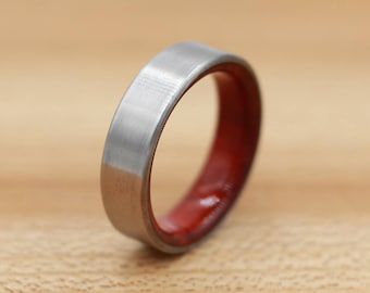 Titanium Ring Lined with Redheart - Wedding Band - Unique Wedding Ring