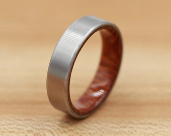 Titanium Ring Lined with Leopardwood - Wedding Band - Unique Wedding Ring