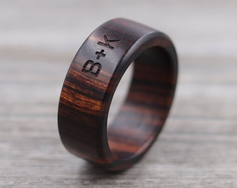 Desert Ironwood Wood Ring - Custom Wood Ring - Personalized Ring - Engraved - Wedding Ring - Wooden Ring - Mens Jewelry - 5 Year Anniversary