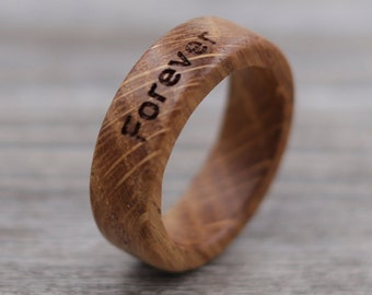 Whiskey Barrel Wood Ring - Engraved Wood Ring - Unique Wedding Ring - Wedding Ring - Wooden Ring - Mens Jewelry - 5 Year Anniversary