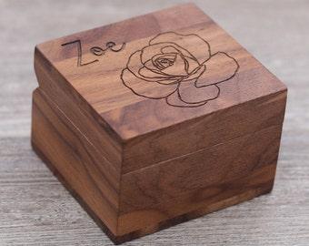 Name, Flower, Personalized Ring Box, Custom Wood Ring Box, Ring Bearer Box, Engagement, Keepsake Box, Jewelry Box,  Proposal Ring Box