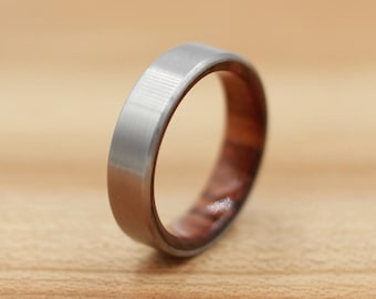 Titanium Ring Lined with Bolivian Rosewood - Wedding Band - Unique Wedding Ring