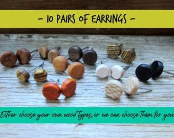 10 pairs of wood earrings, Wood earrings, Wood stud earrings, Womens earrings, Mens earrings, Custom Earrings, Tiny Earrings, Small Earrings