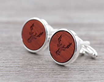 Padauk Personalized Wooden Cuff links - Silver Cufflinks - Custom Engraving - Groomsmen gift - 5th Wedding Anniversary Present