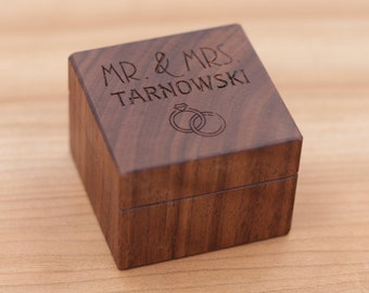 Mr. and Mrs., Personalized Ring Box, Custom Wood Ring Box, Ring Bearer Box, Engagement, Proposal Ring Box, Anniversary Gift, Wedding