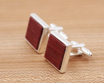 Purpleheart Square Wood Cuff links - Silver Cufflinks - Groomsmen gift - 5th Wedding Anniversary Present