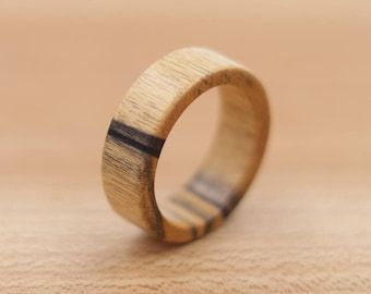 Black and White Ebony Wood Ring - Custom Wood Ring - Unique Wedding Ring - Wedding Ring - Wooden Ring - Mens Jewelry - 5 Year Anniversary