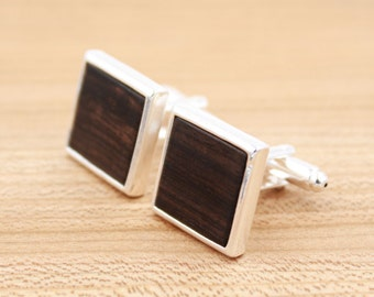 African Blackwood Square Wood Cuff links - Silver Cuff links - Groomsmen gift - 5th Wedding Anniversary Present