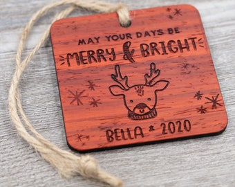 Reindeer Ornament, Name Ornament, Personalized Wood Ornament, Custom Ornament, Christmas Ornament, Holiday Gift, Personalized Gift