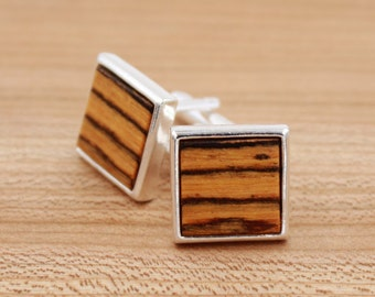 Bocote Square Wood Cuff links - Silver Cuff links - Groomsmen gift - 5th Wedding Anniversary Present