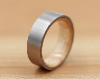 Titanium Ring Lined with Maple - Wedding Band - Unique Wedding Ring