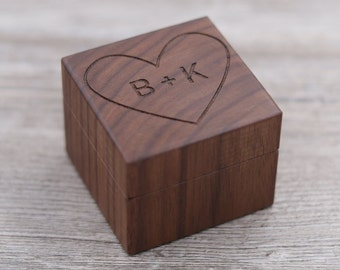 Heart with Initials, Special Person, Personalized Ring Box, Custom Wood Ring Box, Ring Bearer Box, Engagement, Proposal Ring Box