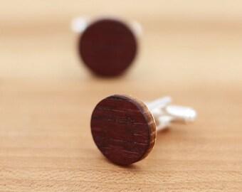 Wine Barrel Wood Cuff links - Groomsmen gift - 5th Wedding Anniversary Present - Personalize