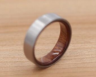 Titanium Ring Lined with Mopani - Wedding Band - Unique Wedding Ring